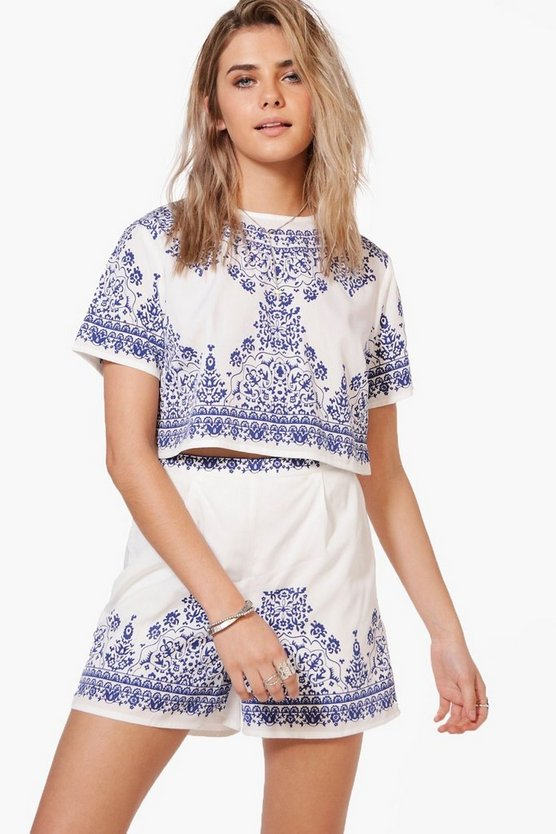 Betsy Woven Printed Placement Print Crop & Short Co-Ord