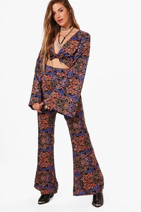 Hallie Woven Print Crop & Flare Trouser Co-Ord