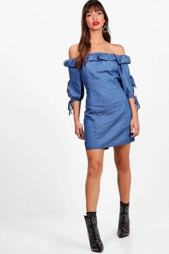 Off The Shoulder Frill Denim Shift Dress