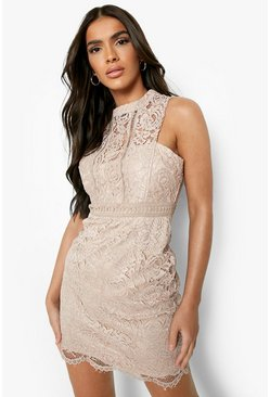 Womens Mink Boutique  Lace Racer Neck Bodycon Dress