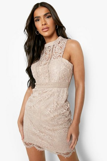 Mink Boutique  Lace Racer Neck Bodycon Dress