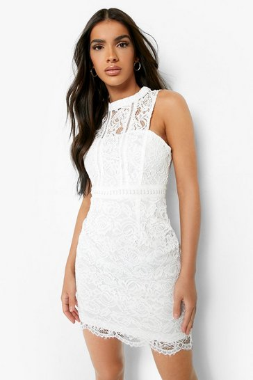 Womens White Boutique  Lace Racer Neck Bodycon Dress