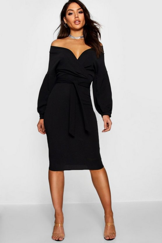 Womens Black Off The Shoulder Wrap Midi Bodycon Dress