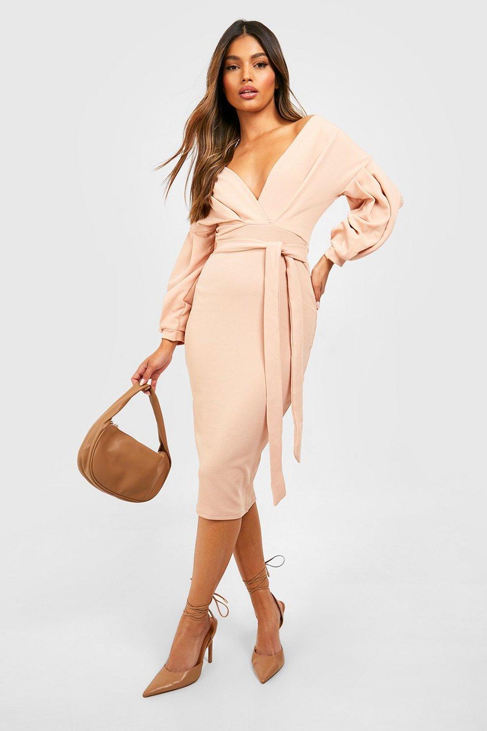 a15940e663a07 Womens Blush Off The Shoulder Wrap Midi Bodycon Dress