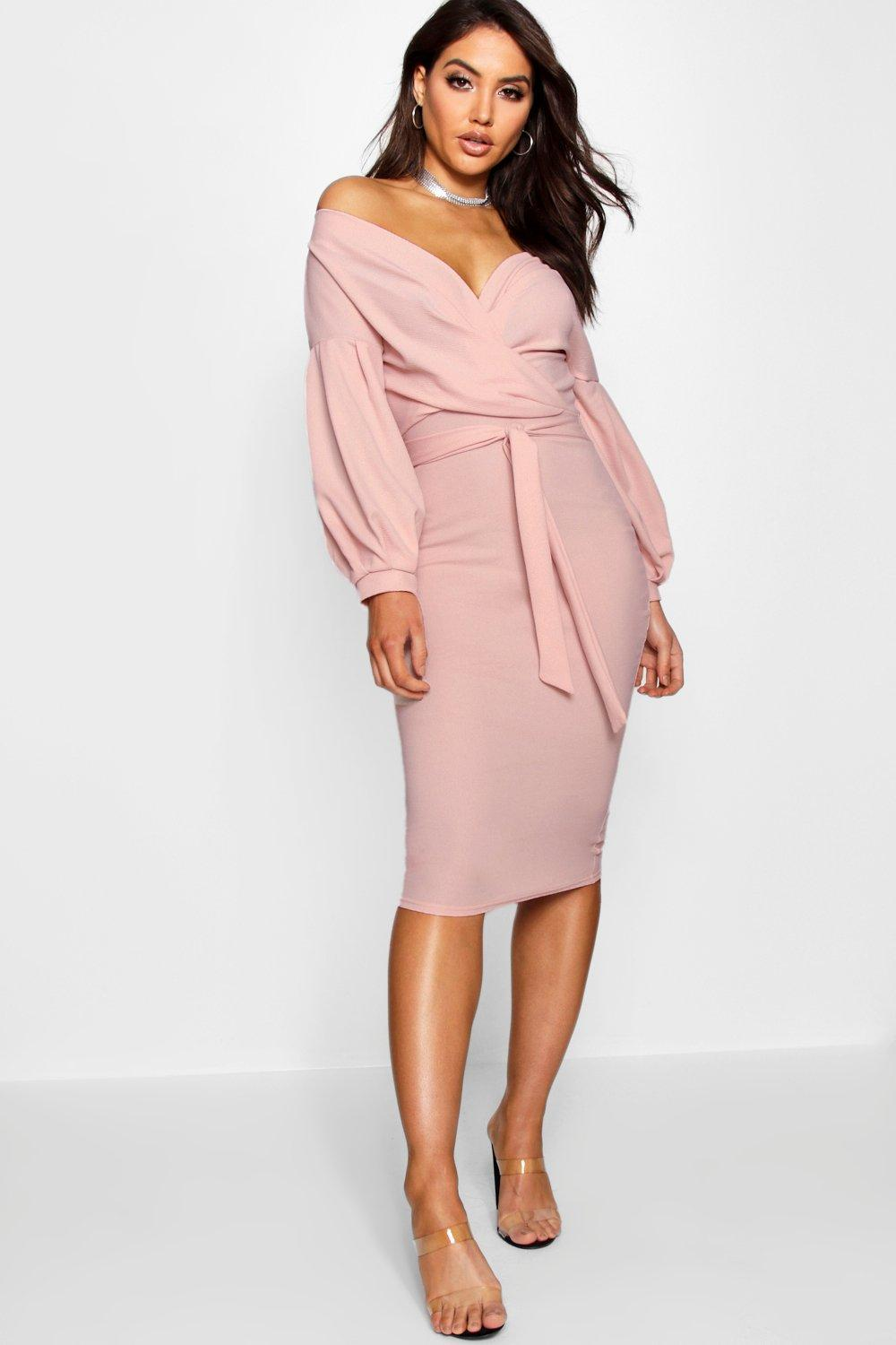 ede98dc76bc2 Off The Shoulder Wrap Midi Bodycon Dress. Hover to zoom