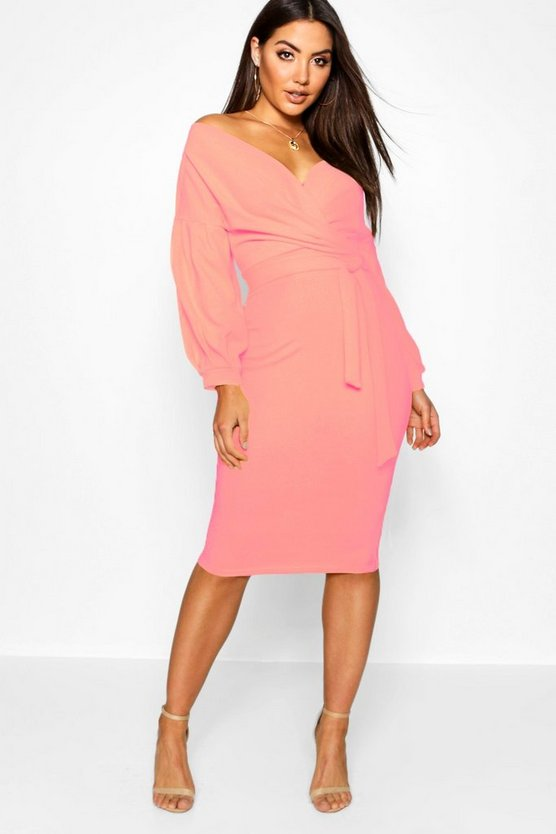 Womens Coral blush Off The Shoulder Wrap Midi Bodycon Dress