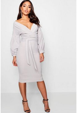 Womens Grey Off The Shoulder Wrap Midi Bodycon Dress
