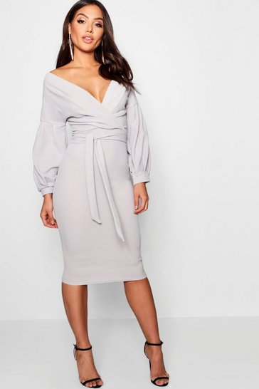 Grey Off The Shoulder Wrap Midi Bodycon Dress