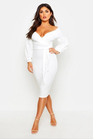 Womens Ivory Off The Shoulder Wrap Midi Bodycon Dress