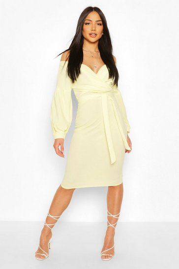 Lemon Off The Shoulder Wrap Midi Bodycon Dress
