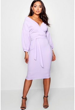 Womens Lilac Off The Shoulder Wrap Midi Bodycon Dress