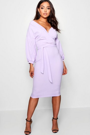 Lilac Off The Shoulder Wrap Midi Bodycon Dress