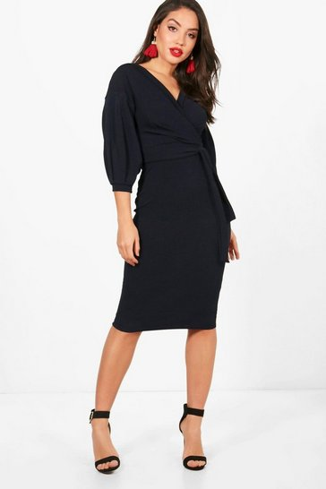Womens Navy Off The Shoulder Wrap Midi Bodycon Dress