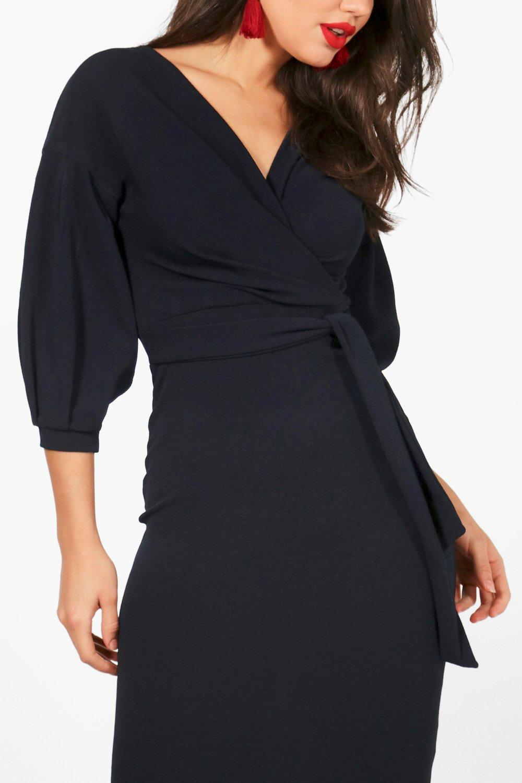 Bodycon off midi dress boohoo wrap shoulder the women york