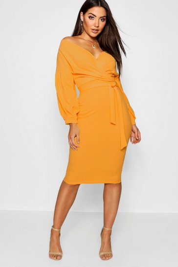Womens Orange Off The Shoulder Wrap Midi Bodycon Dress