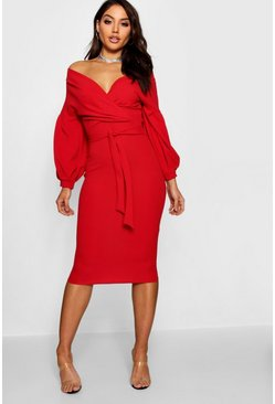 Red Off The Shoulder Wrap Midi Bodycon Dress