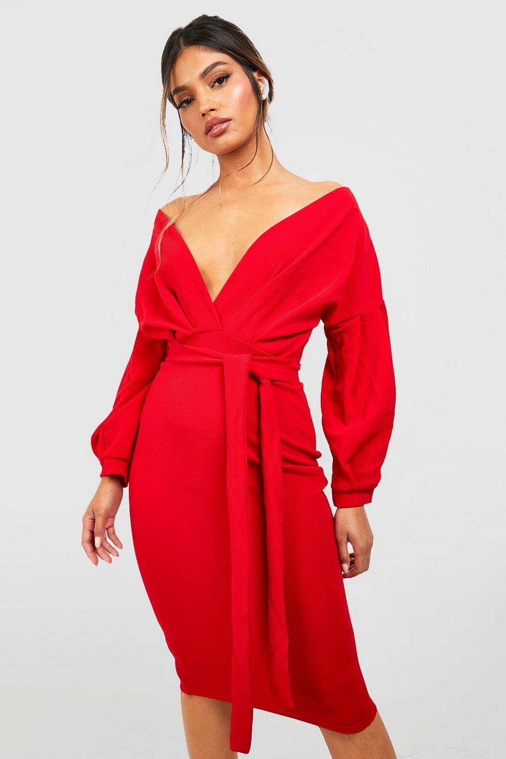 156881a29d0 Off The Shoulder Wrap Midi Bodycon Dress