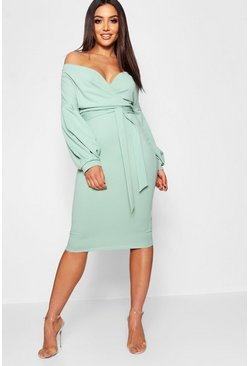 Sage Off The Shoulder Wrap Midi Bodycon Dress