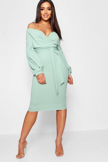 Womens Sage Off The Shoulder Wrap Midi Bodycon Dress