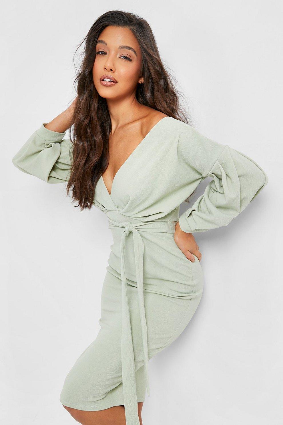 2113edace7a Womens Sage Off The Shoulder Wrap Midi Bodycon Dress