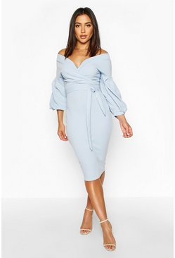 Sky Off The Shoulder Wrap Midi Bodycon Dress