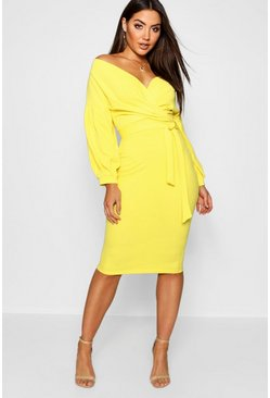 Womens Yellow Off The Shoulder Wrap Midi Bodycon Dress