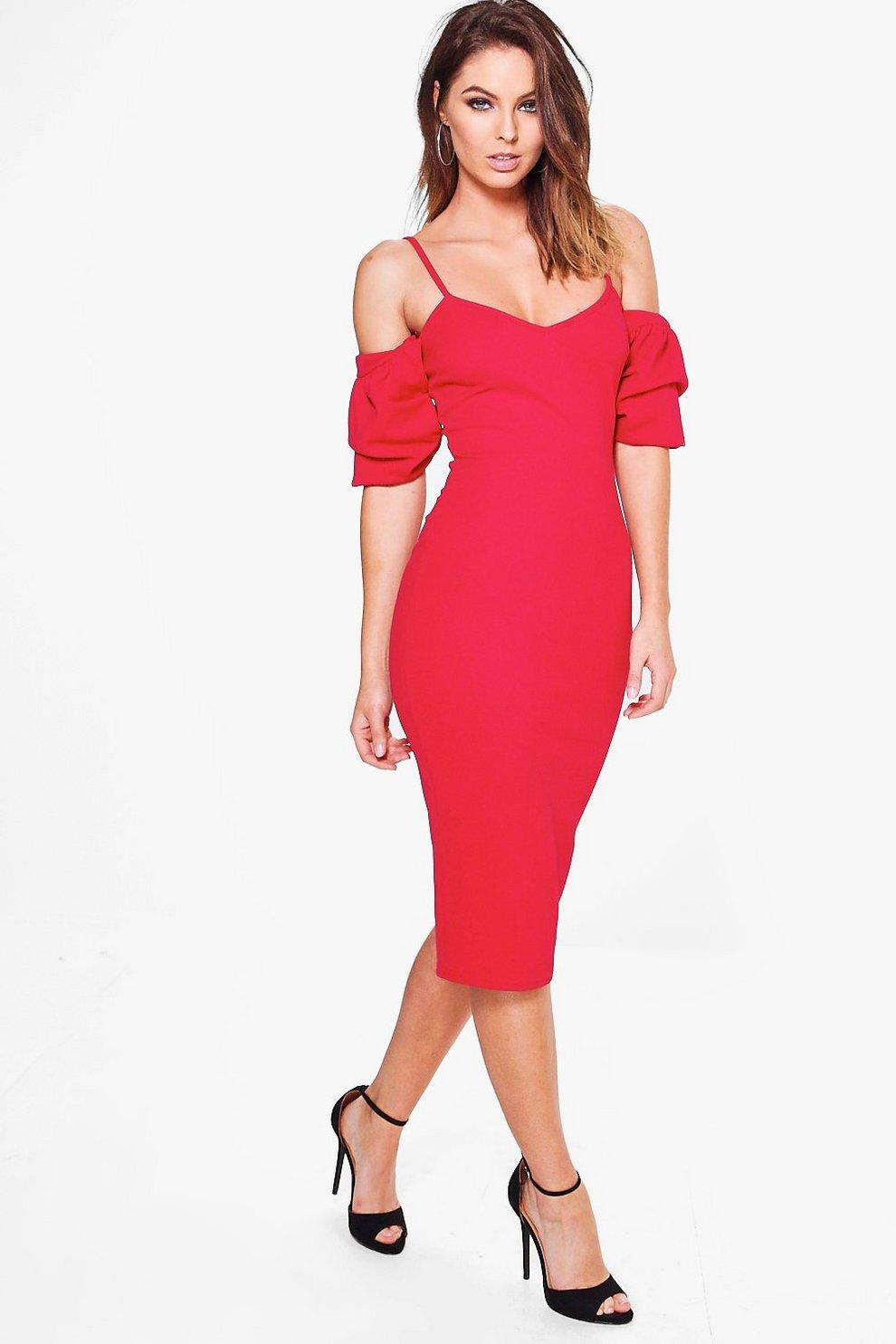 3d3374305332 Flora Strappy Ruffle Sleeve Midi Bodycon Dress   Boohoo