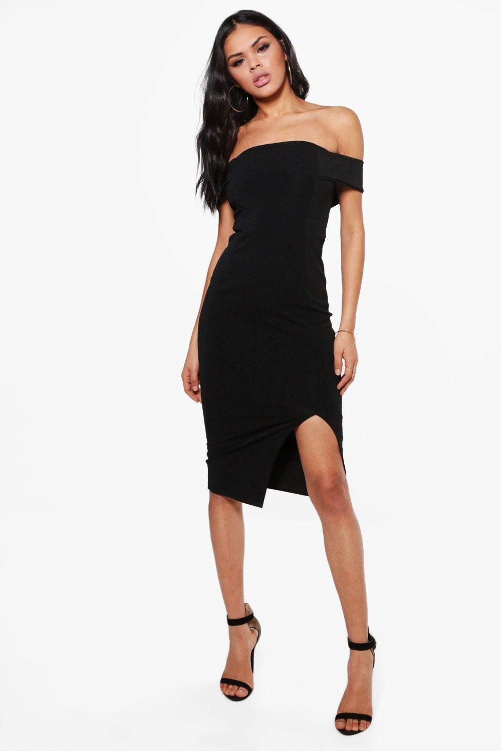d9c608a55391 Anna Off The Shoulder Side Split Midi Dress. Hover to zoom