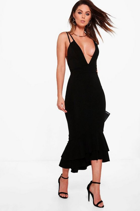 Womens Black Strappy Peplum Hem Midi Dress