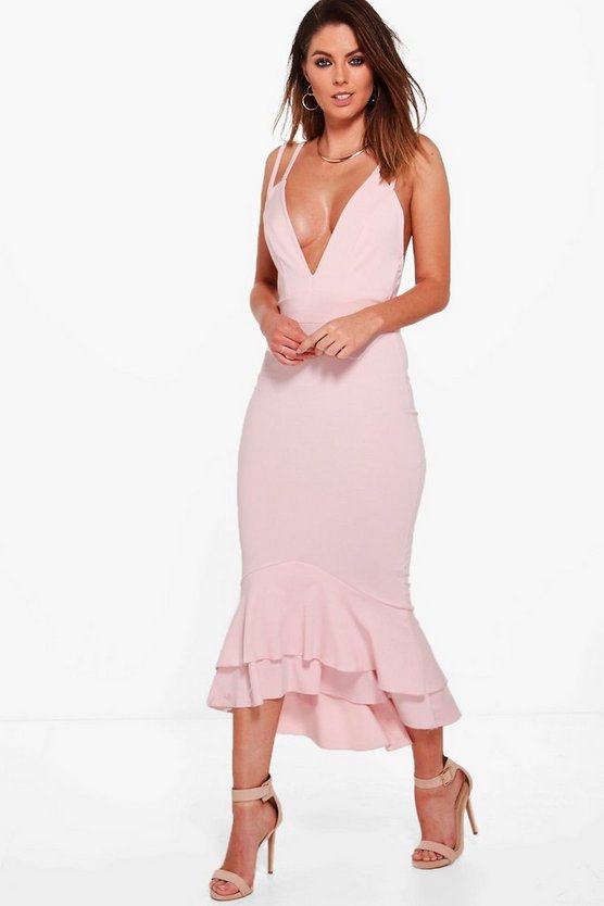 Strappy Peplum Hem Midi Dress