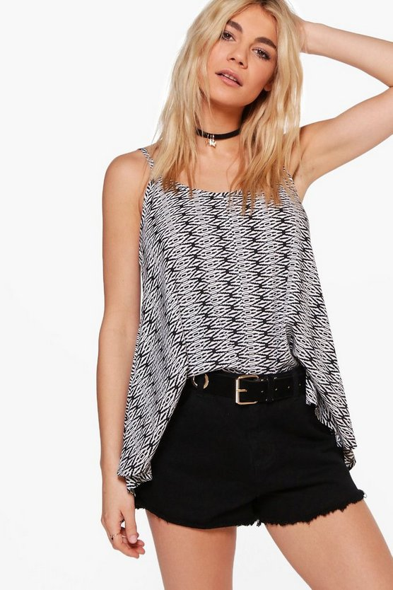 Isabelle Mono Printed Woven Hanky Hem Cami