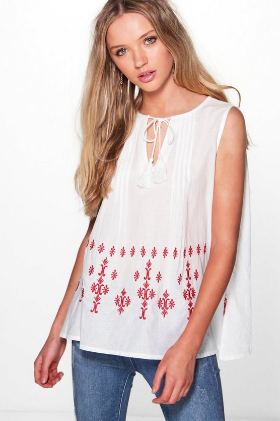 Maria Embroidered Woven Tunic Top