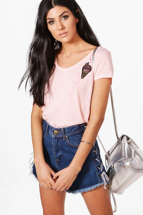 Abbie Retro Sequin Badge Tee