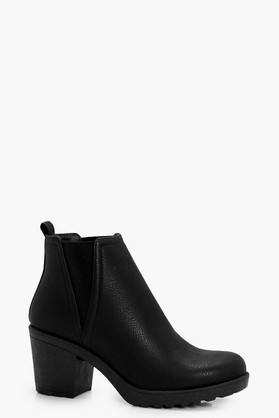 Womens Black Chunky Cleated V Detail Chelsea Boots