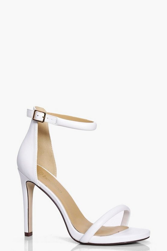 Womens White Wide Fit Two Part Heels