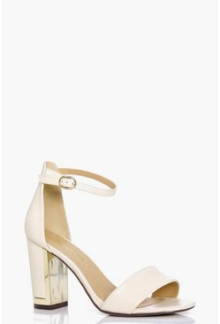 Womens Nude Wide Fit Gold Plated Block Two Part Heels
