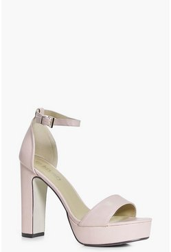 Womens Nude Wide Fit Platform Two Part Heels
