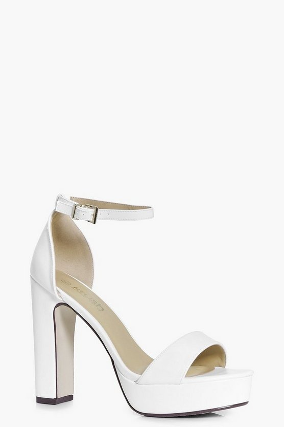 Womens White Wide Fit Platform Two Part Heels
