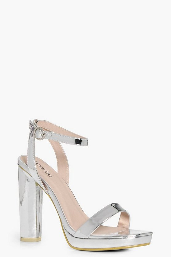 Womens Silver Platform Two Part Heels