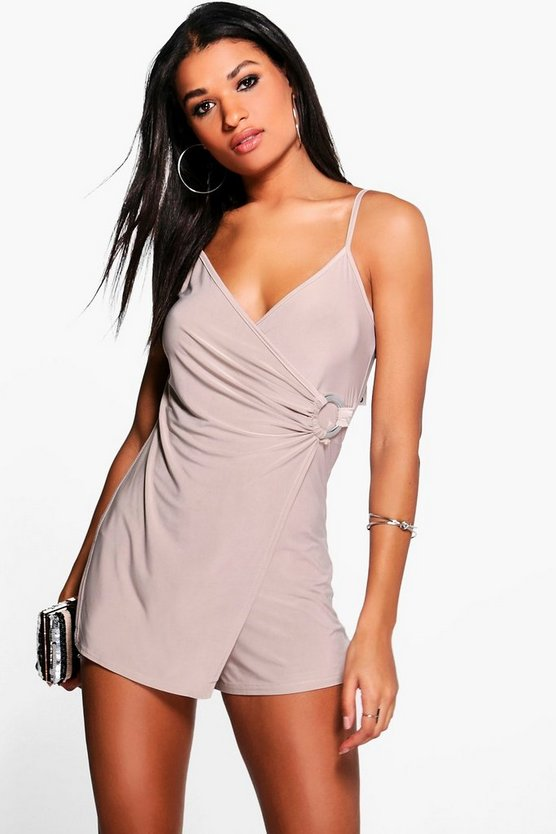 Womens Grey Amy Wrap Front O Ring Skort Playsuit
