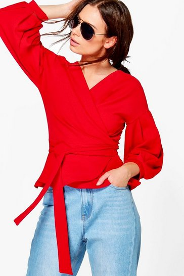 Womens Red Bell Sleeve Wrapover Top