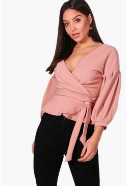 Womens Rose Bell Sleeve Wrapover Top
