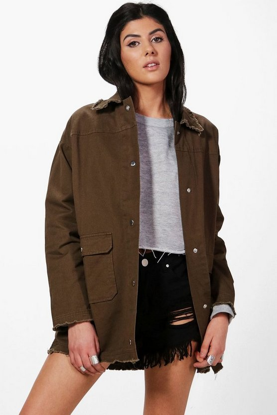 Mollie Distressed Oversized Utility Jacket
