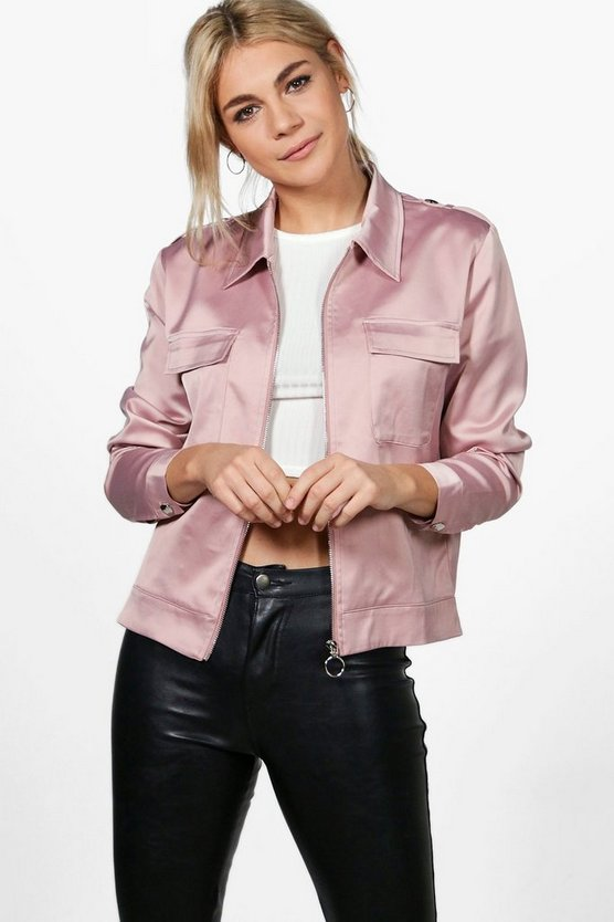 Jen Satin Crop Trucker Jacket