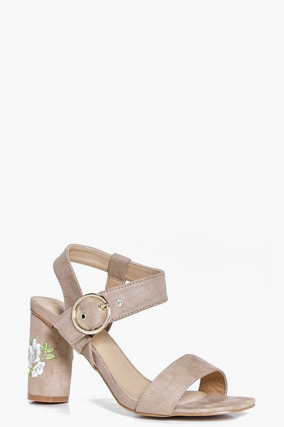 Womens Nude Darcy Embroidered Cylinder Heel