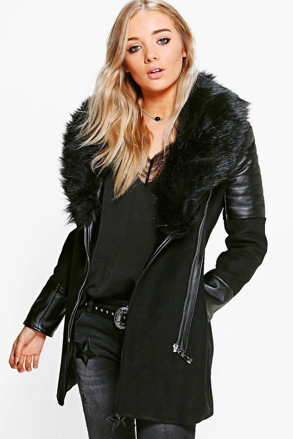 71f38b84e9f Boutique Maya Faux Fur Collar Coat | Boohoo