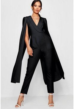Womens Black Cape Woven Tailored Jumpsuit