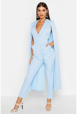 Womens Blue Cape Woven Tailored Jumpsuit