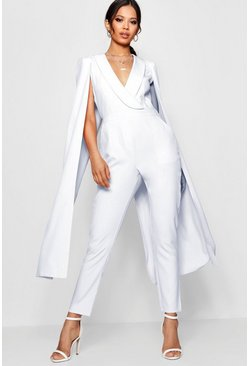 Womens Ivory Cape Woven Tailored Jumpsuit