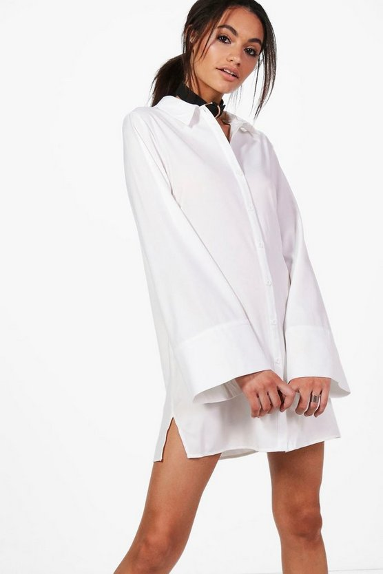 Sabina Wide Sleeve Cotton Shirt Dress